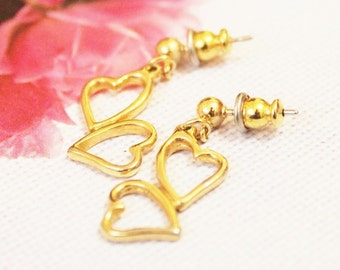 Vintage Gold Heart Earrings, Heart Jewelry, Romantic Gift, Gifts Under 15