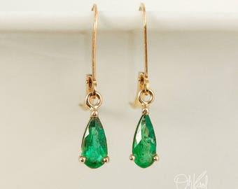 Gold Green Emerald Teardrop Earrings - Natural Emerald - Emerald Dangles