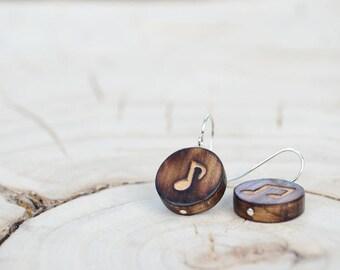 Boucles d'oreilles Ronde Bois Récupéré et Argent - Notes de Musique