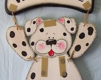 Wooden Welcome Dalmatian Dog- Use with Interchangeable Wooden Outfits