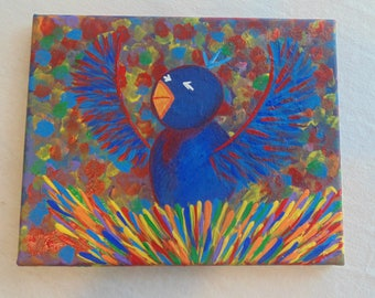 Original OOAK Bluebird in a Rainbow Tree w/ Rainbow Nest, One of a Kind, Ready to Hang, Abstract, Dabbed, Pointillism, Psychedelic, Pop Art