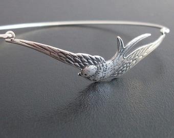 Silver Bird Bracelet, Swallow Bracelet, Nature Gift for Bird Lover, Bird Bangle Bracelet, Silver Jewelry, Silver Bracelet, Silver Bangle