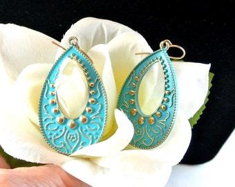 Blue Boho Metal Dangle Earrings, Vintage Blue Earrings, Blue Gypsy Earrings, Blue Enamel Earrings