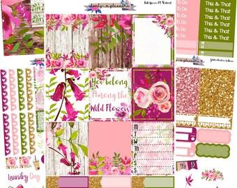 VERTICAL KIT, Wild Flowers, Weekly Sticker Kit, Erin Condren, EC Vertical, Sticker Kit, Planner Stickers