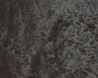 Heavy silk brocade, black dragon print