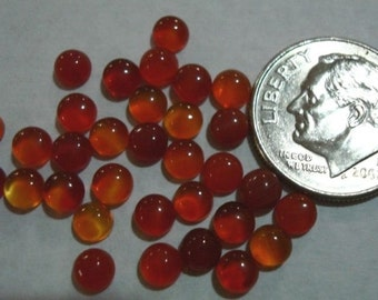 4 pcs Carnelian High Dome cabochons 4mm round cb020