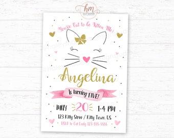 Cat Birthday Invitation, Kitty Cat Birthday Party Invitation, Gold, Pink and Black Digital File
