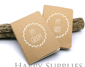 Set of 2 Wedding Vows (My Groom & Bride) Pocket Notebook, Wedding Guest Book, Bridesmaid Gift (NO LOGO or Marks on Cover)