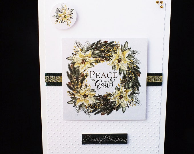 Peace On Earth Christmas Card, Happy Christmas Card, White Green And Gold, Noel Card, Floral Card, White Poinsettia Card