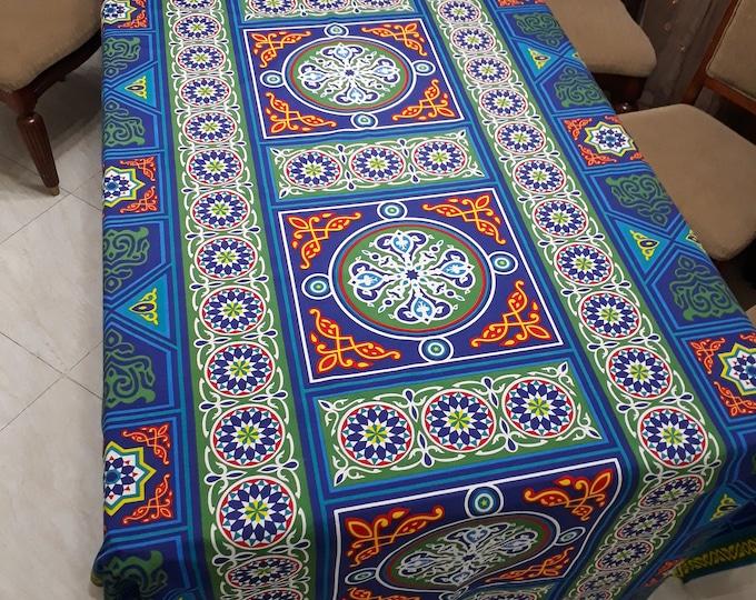 Egyptian fabric cotton. Multicolored blue mandala. Traditional. Oriental ethnic pattern. patchwork. DIY. Wedding decoration.