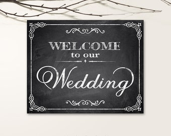 Printable Wedding Signs, Chalkboard Wedding Signs, Welcome Wedding Signs PDF, JPG files - Chalkboard