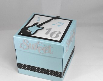 3D Blue, Black and Silver Sweet Sixteen Birthday Card, Explosion Box Card, with Guitars