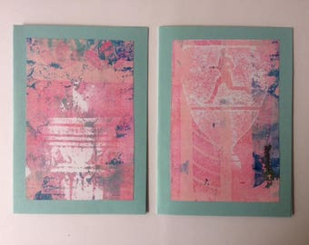 set of two greetingcards with monoprint