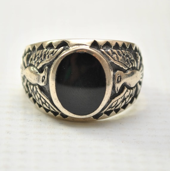 Onyx Oval with War Bird in Sterling Silver Ring Sz 13 #8793