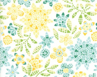 Teal and Yellow Floral Mosaic Fabric - Grand Canal from Kate Spain by Moda 1 Yard