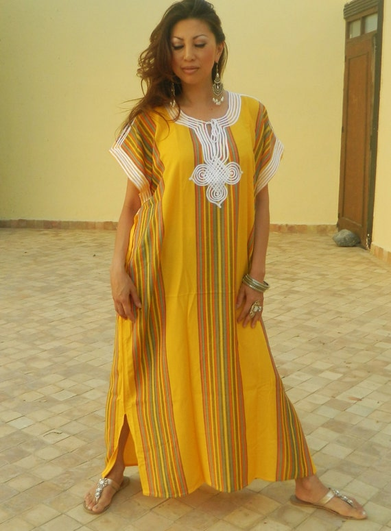 Resort Caftan Bedoin Style- Yellow, Moroccan kaftan, caftan, bohemian wear, resort wear, beach cover up, Ramadan, Eid
