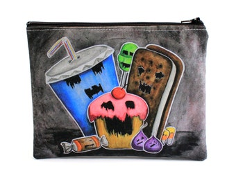 Axis of Evil - Zipper Pouch - Monster Cupcake, Candy, Soda, and Ice Cream Sandwich - Art by Marcia Furman