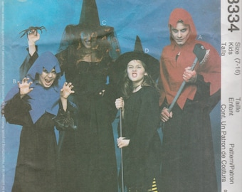 McCall's Costumes 3334 Boys'/Girls' Size 7-16 or Misses'/Men's Sml-Xlg Witch and Ghoul Costumes Sewing Pattern 2001 Uncut