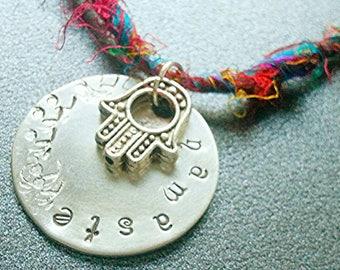 Namaste necklace, yoga Jewelry, om necklace, peace necklace, meditation necklace, hand stamped, zen jewelry, raw silk necklace, sari silk