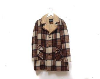 Vintage 60s Plaid Wool Coat / Warm Fur Lined Plaid Jacket / Button Down Up Coat / 70s Vintage Coat / 60s 70s Mid Length Coat / Retro Coat L