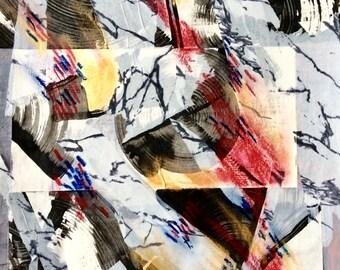 EVOLVING, Acrylic collage,32x24 cm, unframed