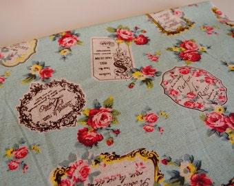 Half yard--Sewing lightweight cotton canvas fabric--elegant vintage rose pattern