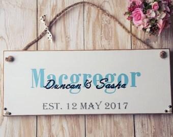 Wedding plaque - Surname, Names & Established Date