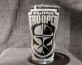 Clone Trooper etched Pint Glass