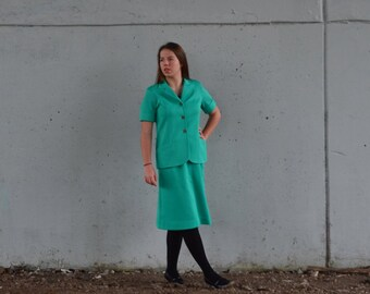 10 Dollar Sale   1970s work suit   skirt and blazer   teal powersuit   Size m