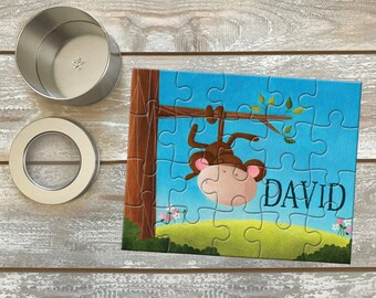 Monkey Jigsaw Puzzle / Kids puzzle / Monkey Paintings / Name Personalization / Original Art / Puzzle