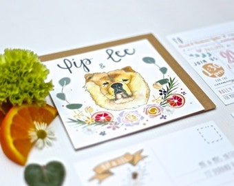 Wedding Invitations, Wedding Stationery, Custom invitations, Bespoke Invitations, Bespoke Stationery, Dog Invitations,  Pet Themed Wedding