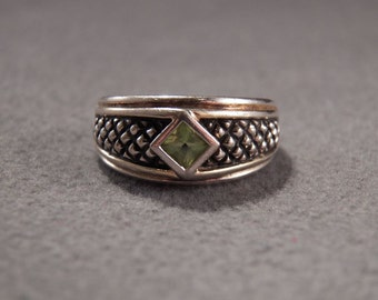 Vintage Sterling Silver Trillion Cut Peridot Bold Band Ring, Size 8        **RL