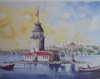 Art Print of a watercolor of monuments and sights of Istanbul