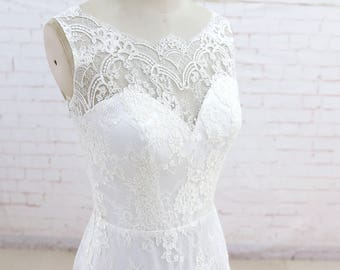Vintage Wedding dress, A Line Wedding Dress, Lace Wedding Dress, Romantic Bridal gown, Full Lace wedding dress