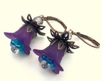 SALE, Purple/Turquoise Resin Flower Earrings, Czech Glass Bellflowers, Antiqued Copper Findings, Swarovski Crystals