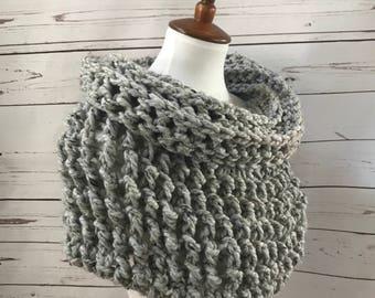Wool Cowl Scarf : chunky knit   shrug   infinity scarf   handmade   style #1034   Gray Marble