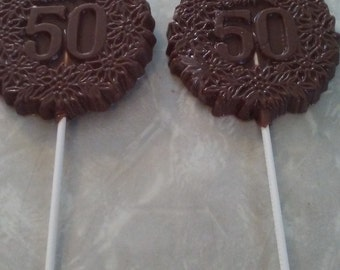 50th Birthday/ Anniversary Chocolate Lollipops 12 count.