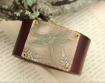 Fern Dragonfly Forest Nature Leather Cuff