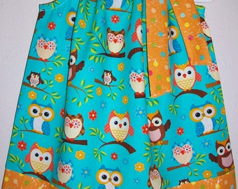 Owl Dress Pillowcase Dress with Owls Girls Dresses Woodland Animals Forest Party Owl Party Baby Dresses Summer Dresses Kids Clothes