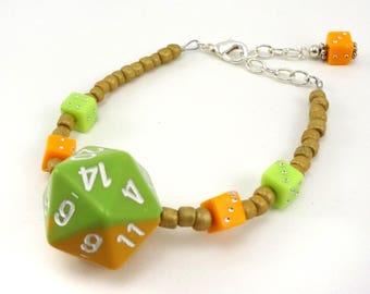 Green and yellow/orange D20 beaded dice bracelet