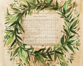 Come Thou Fount Vintage Hymn Original Watercolor PRINT