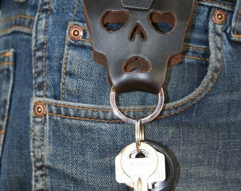 Skull Key-Ring with Belt Loop and Sam Brown. Dark Brown Leather Skull, Black Leather Loop with Sam Brown by FHGuitarStraps. Handmade 4 You.