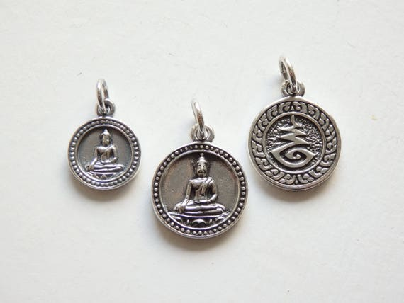 One Sterling Silver Buddha Charm Pendant Choose Either 12mm Or