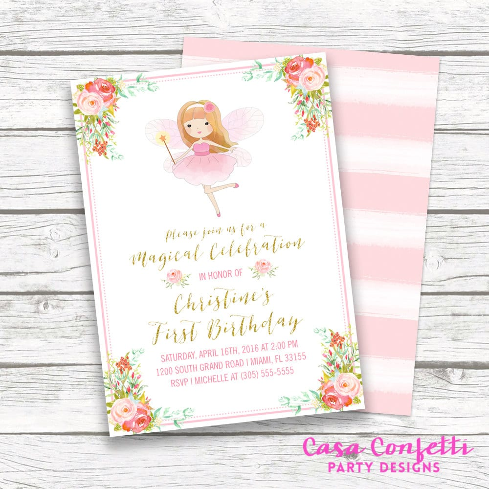 Fairy Birthday Invitation, Fairy Princess Invitation, Pink and Gold ...