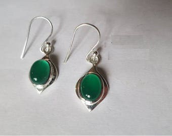 Green onyx earrings, 92.5 sterling silver