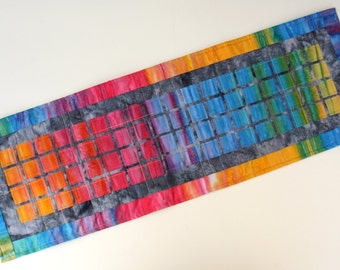 Rainbow Squares Quilted Wall Hanging / Table Runner by PingWynny
