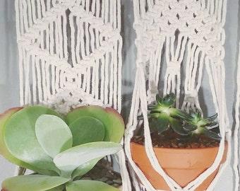 Two Macrame Hanging Planters- White Wall Accent- Bohemian Decor- Dorm Decor~ Planter~ Modern Macrame- White Wall Accent- Boho Home- Jungalow