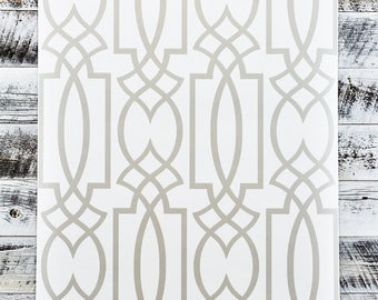 York Large Lattice Watercolor Geometric Modern Grey White Trellis Wallpaper WT4604 - Sold by the Yard