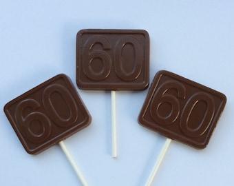 12 60th birthday Chocolate pops