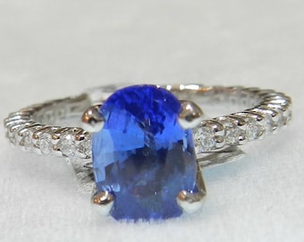Sapphire Ring Platinum 2 Ct Ceylon Blue Sapphire Diamond Engagement Ring Genuine Sapphire Ring Engagement Ring  Platinum